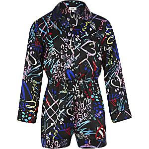 Schwarzer, gemusterter Pyjama-Overall für Mädchen