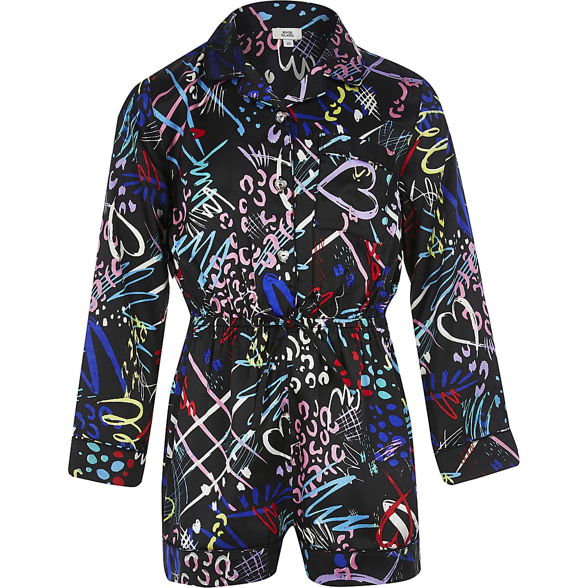 Girls black printed pyjama playsuit