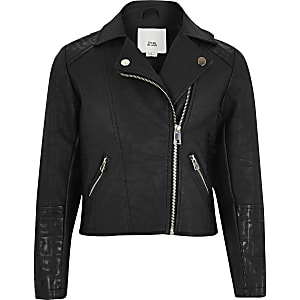 Girls black RI monogram biker jacket