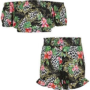 Girls black tropical print bardot top outfit