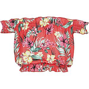 Pinkes Bardot-Oberteil mit tropischem Print