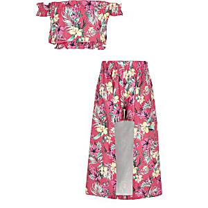 Outfit met roze skort met tropische print voor meisjes