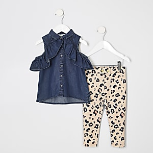 Mini girls cold shoulder denim shirt outfit