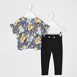 Ensemble avec t-shirt rayé à fleurs noir pour mini fille