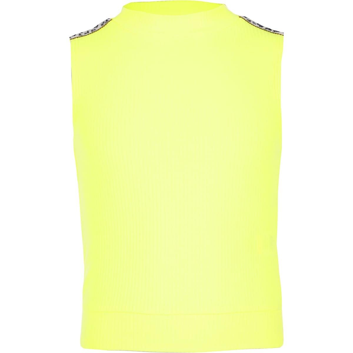 Girls neon yellow diamante high neck top