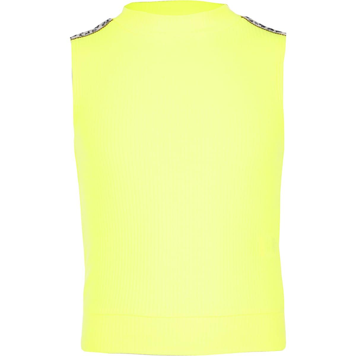 Girls neon yellow rhinestone high neck top