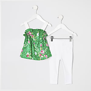 Mini girls green floral cami top outfit