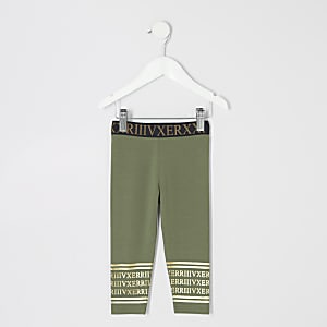 Mini girls khaki printed waistband leggings