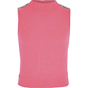 Girls neon pink diamante trim high neck top