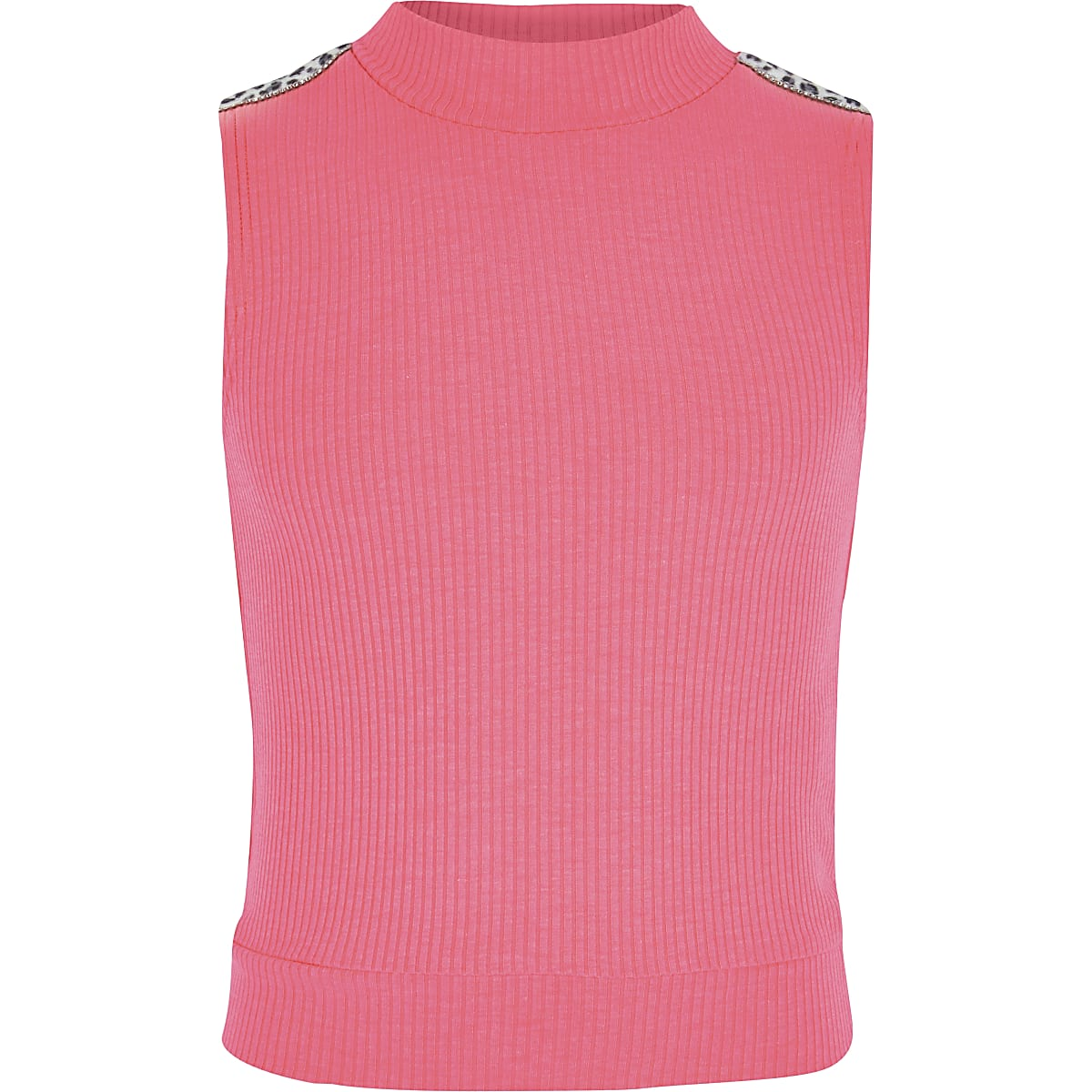 Girls neon pink diamante trim high neck top