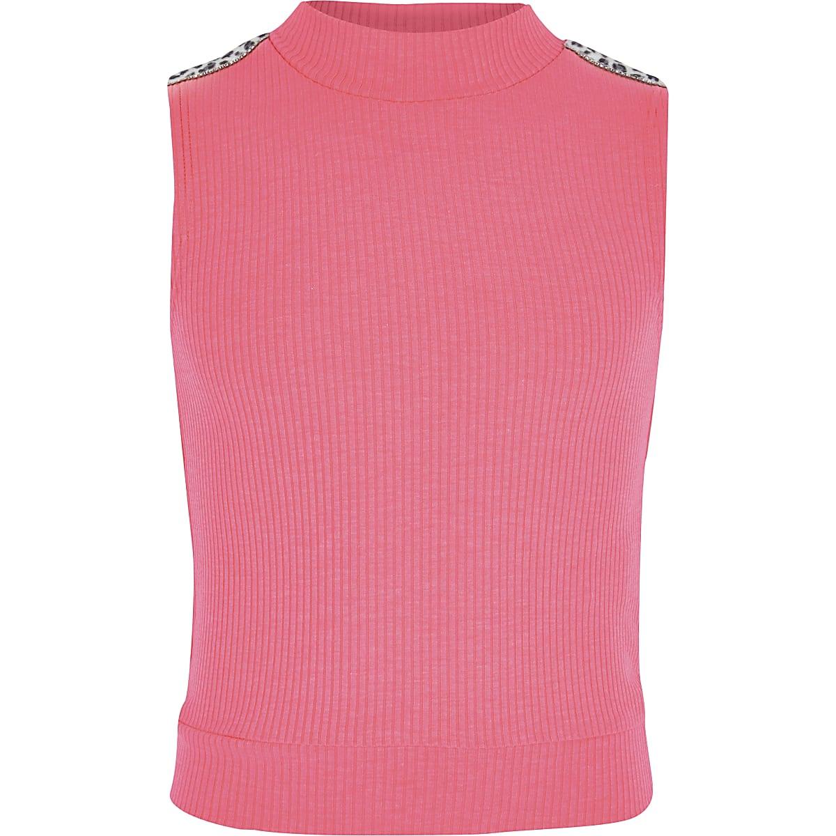 Girls neon pink rhinestone trim high neck top