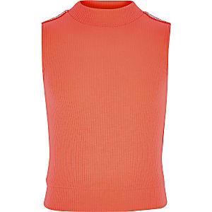 Girls neon orange rhinestone trim high neck top