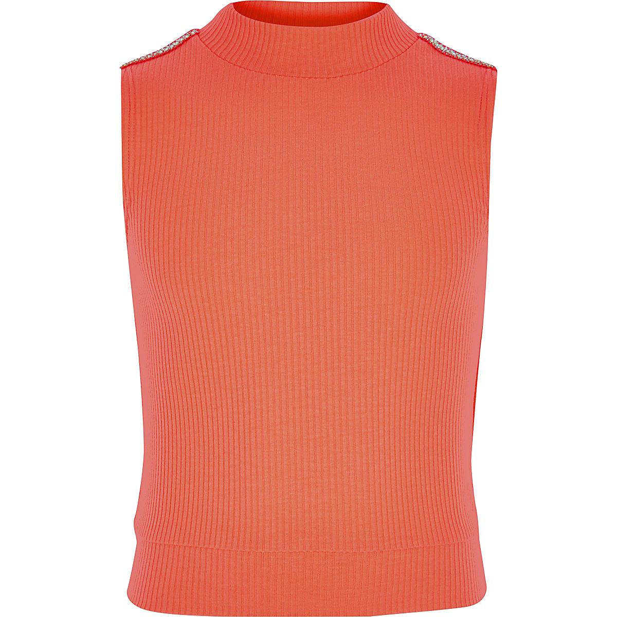 Girls neon orange diamante trim high neck top