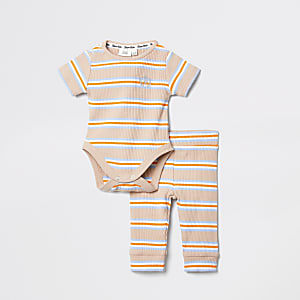 Baby beige stripe babygrow outfit