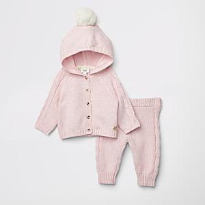 Ensemble avec cardigan en maille rose à pompons pour bébé