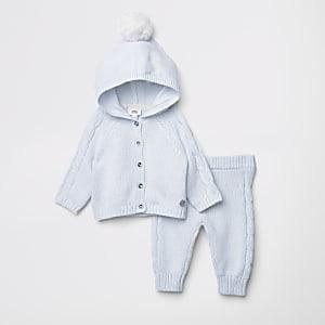Ensemble avec cardigan en maille bleu à pompons pour bébé