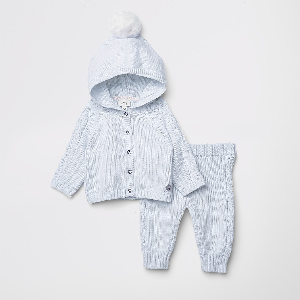 Baby blue pom pom knitted cardigan outfit