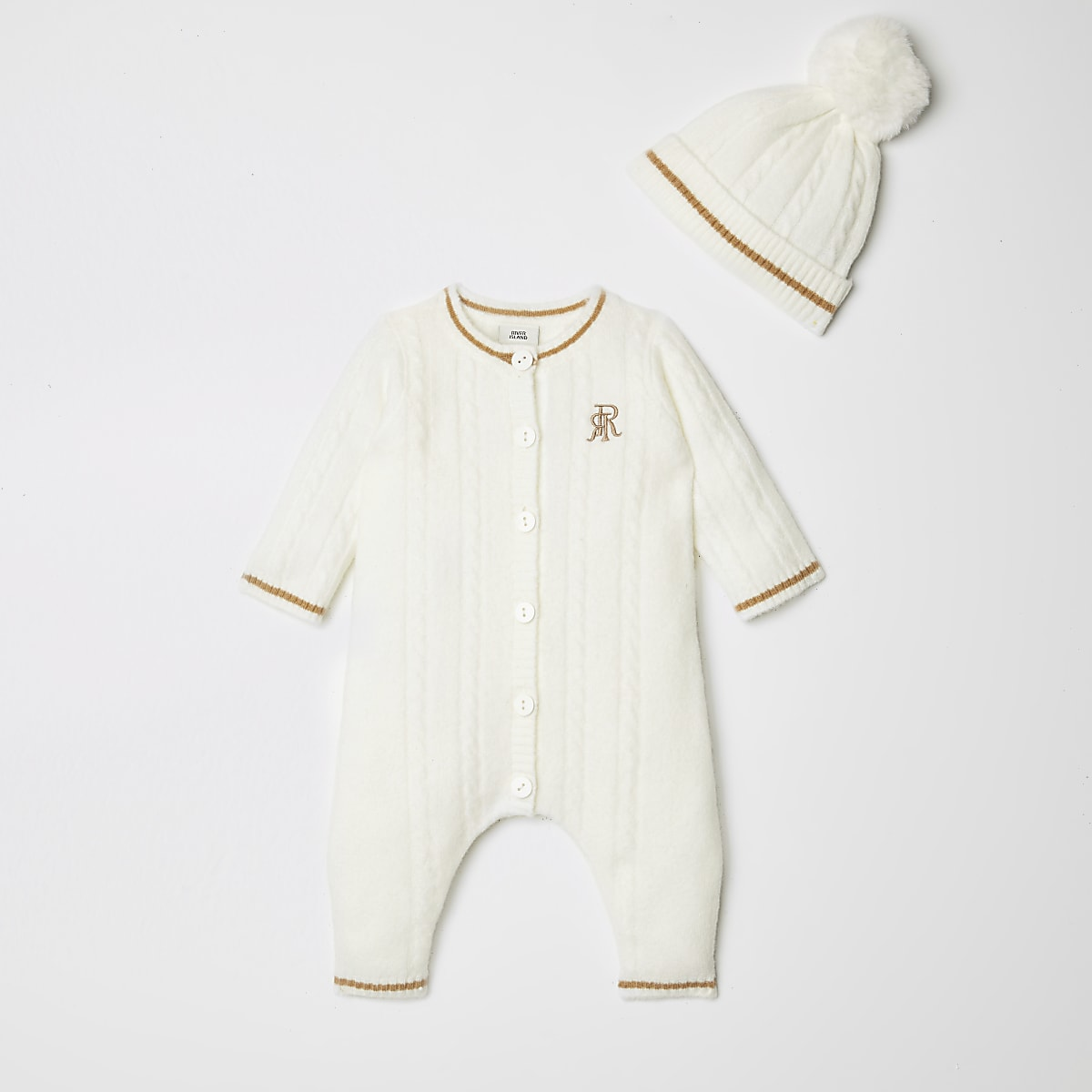 Baby cream knitted baby grow outfit with hat