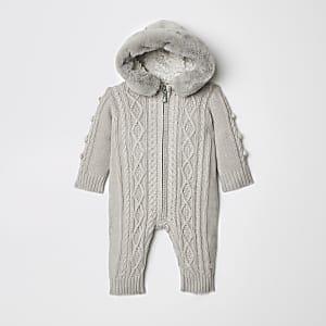 Grenouillère en maille torsadée grise pour bébé