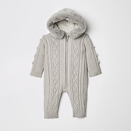 Baby grey cable knit all in one