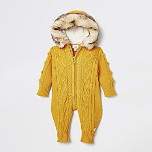 Grenouillère en maille torsadée jaune pour bébé
