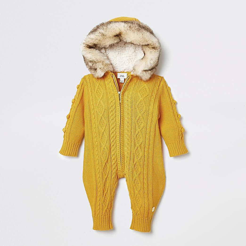Baby yellow cable knit all in one