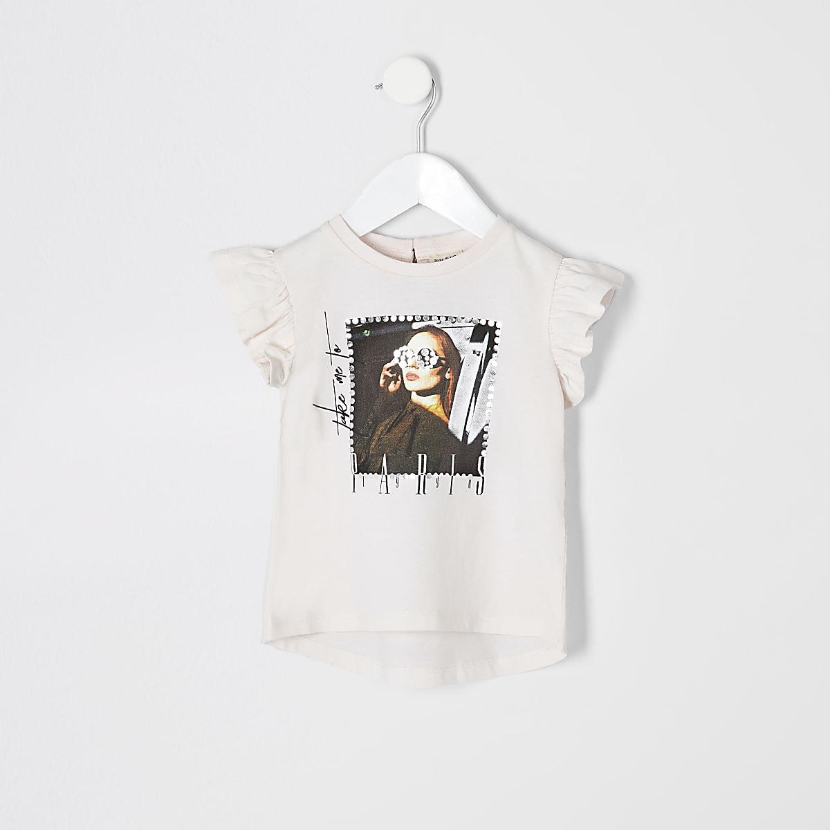 Mini girls pink printed frill sleeve T-shirt