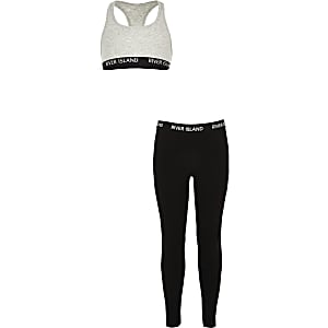Girls grey RI racer crop top outfit