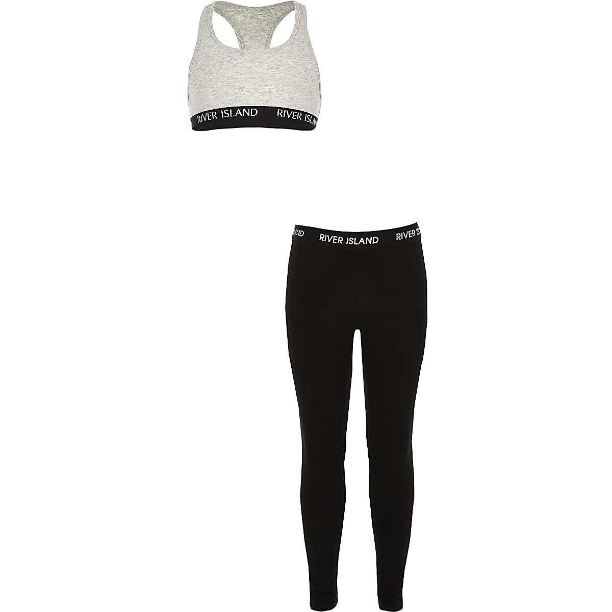 Girls grey RI racer crop top outfit