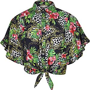 Zwart overhemd met kettingprint en strik voor meisjes