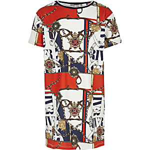Girls white printed T-shirt dress