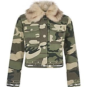 Kaki versierd jack met camouflageprint voor meisjes