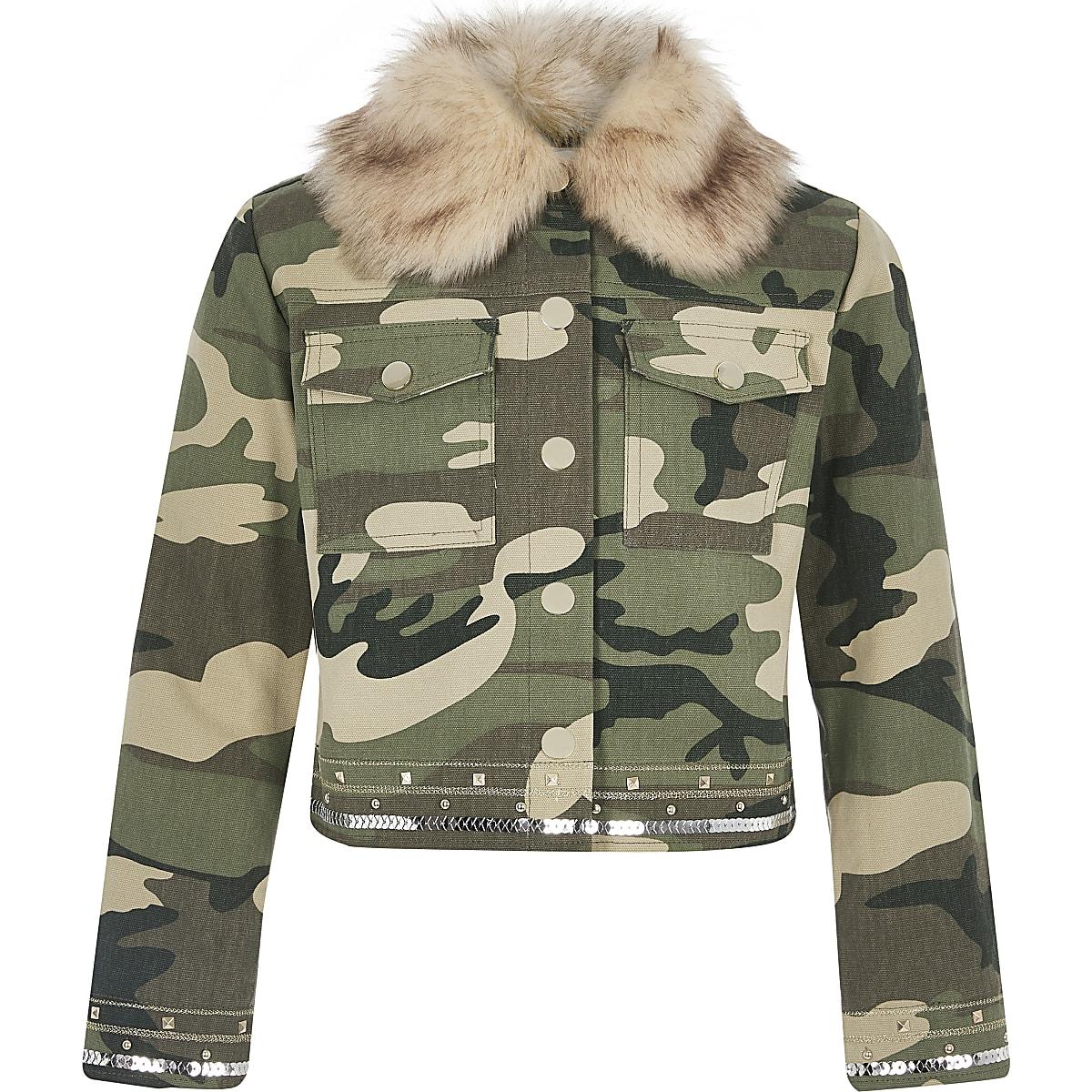 Girls khaki embellished camo jacket