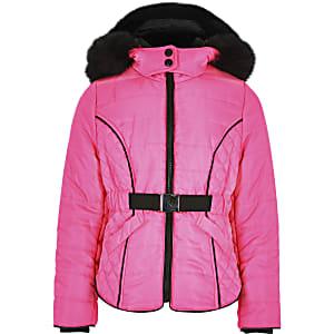 Manteau bouffant rose fluo à fausse fourrure