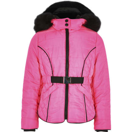 Pink neon faux fur lined puffer coat