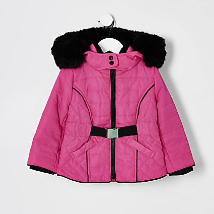 Mini girls neon faux fur lined puffer coat
