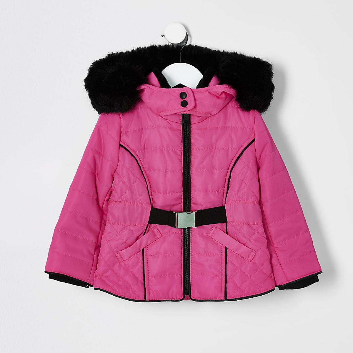 Mini - Neon gewatteerde jas met binnenvoering en imitatiebont voor meisjes