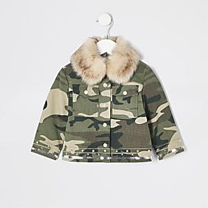 Mini - Versierd kaki camouflagejack voor meisjes