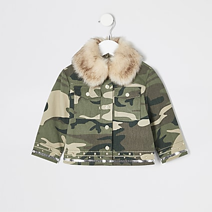 Mini girls khaki embellished camo jacket