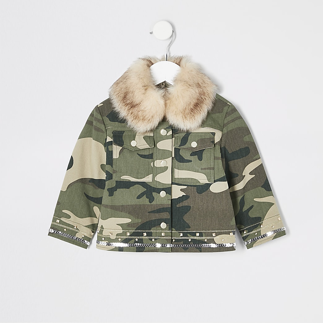 Mini girls khaki embellished camo jacket