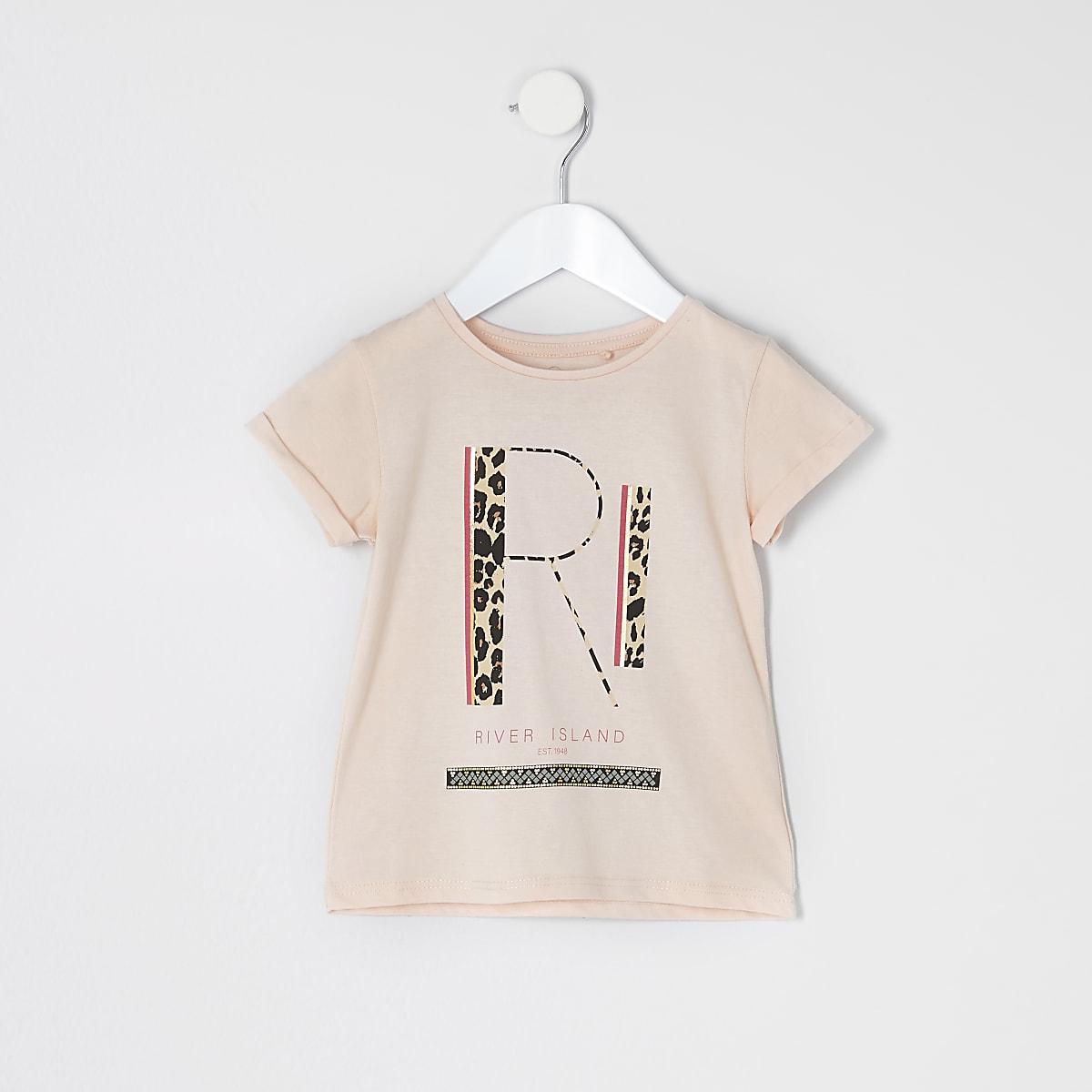 Mini girls pink RI leopard print T-shirt