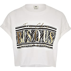 Girls white animal foil print T-shirt
