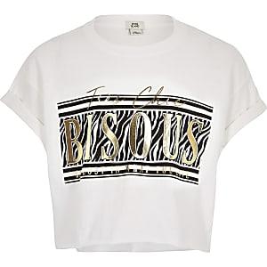 Girls white animal foil print T-shirt