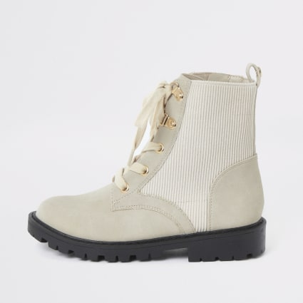 Girls cream ribbed panel ankle boots