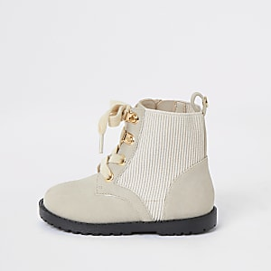 Mini girls cream ribbed ankle boots