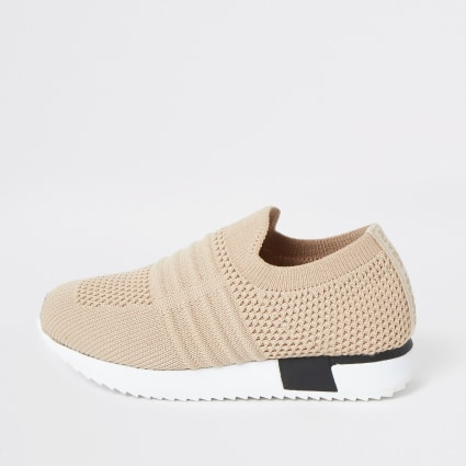 Mini Kids beige knit runner trainers