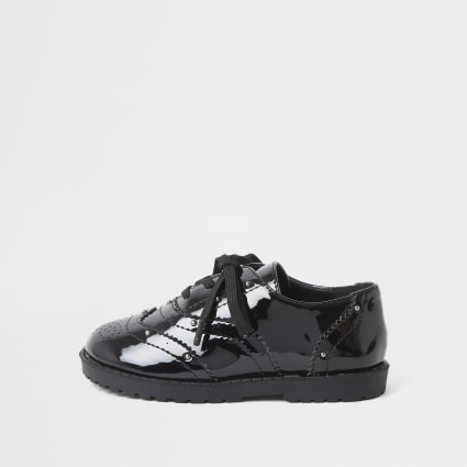 Mini girls black patent studded brogues