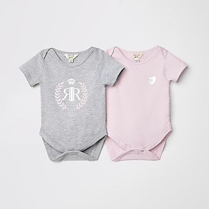 Baby pink two pack babygrow