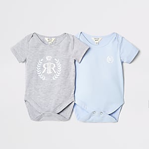 Baby blue two pack babygrow