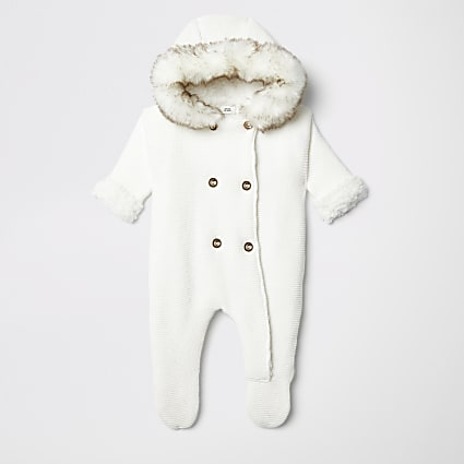 Baby cream hooded knit all in one
